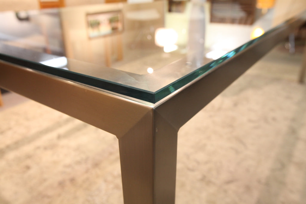 "Trica Cubo Glass Table w/brushed steel base (94""L x 40"")"