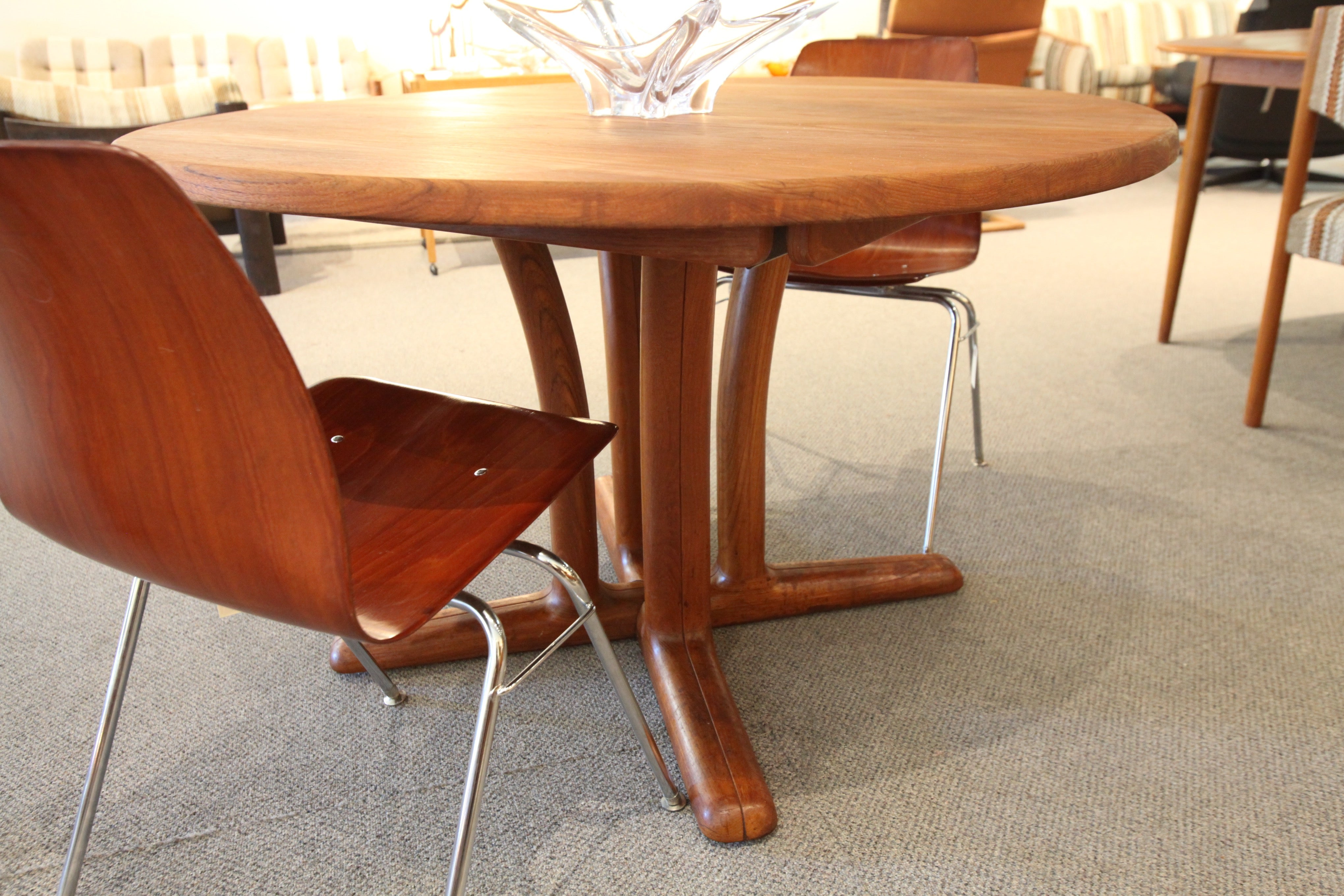 "Vintage Danish Mid Century Round Teak Table (47"" across)"