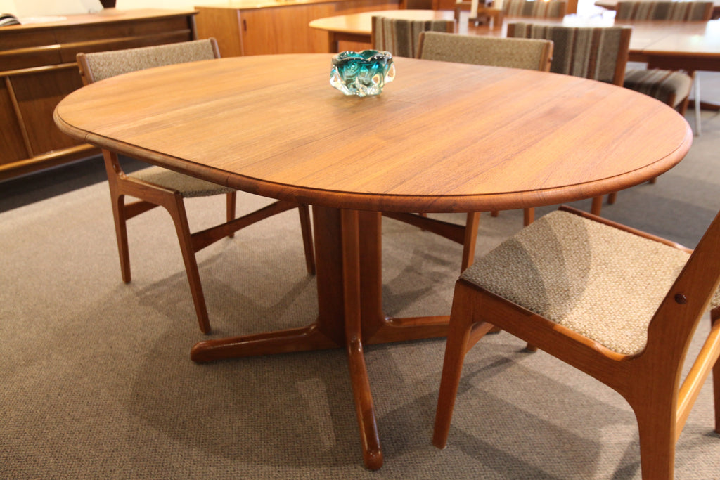 "Round Teak Table with Butterfly Leaf (57""L x 41.5""W) or (41"" Round)"