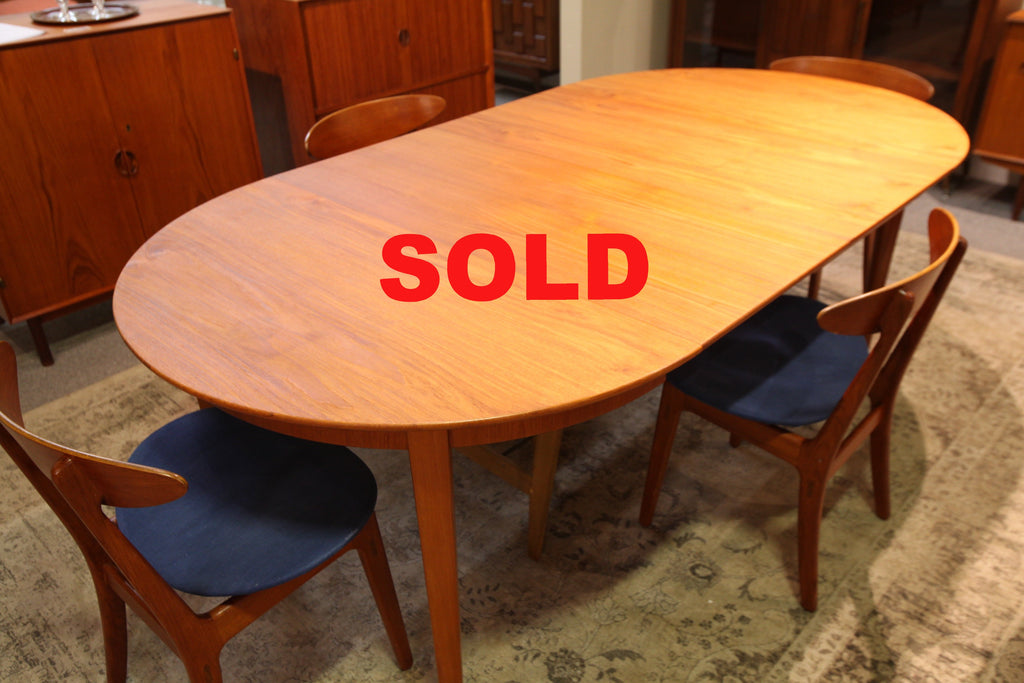 "Henning Kjaernulf Teak Round Table w/2 leafs.  (84.5""L x 45.25""W) or (45.25"" across)"