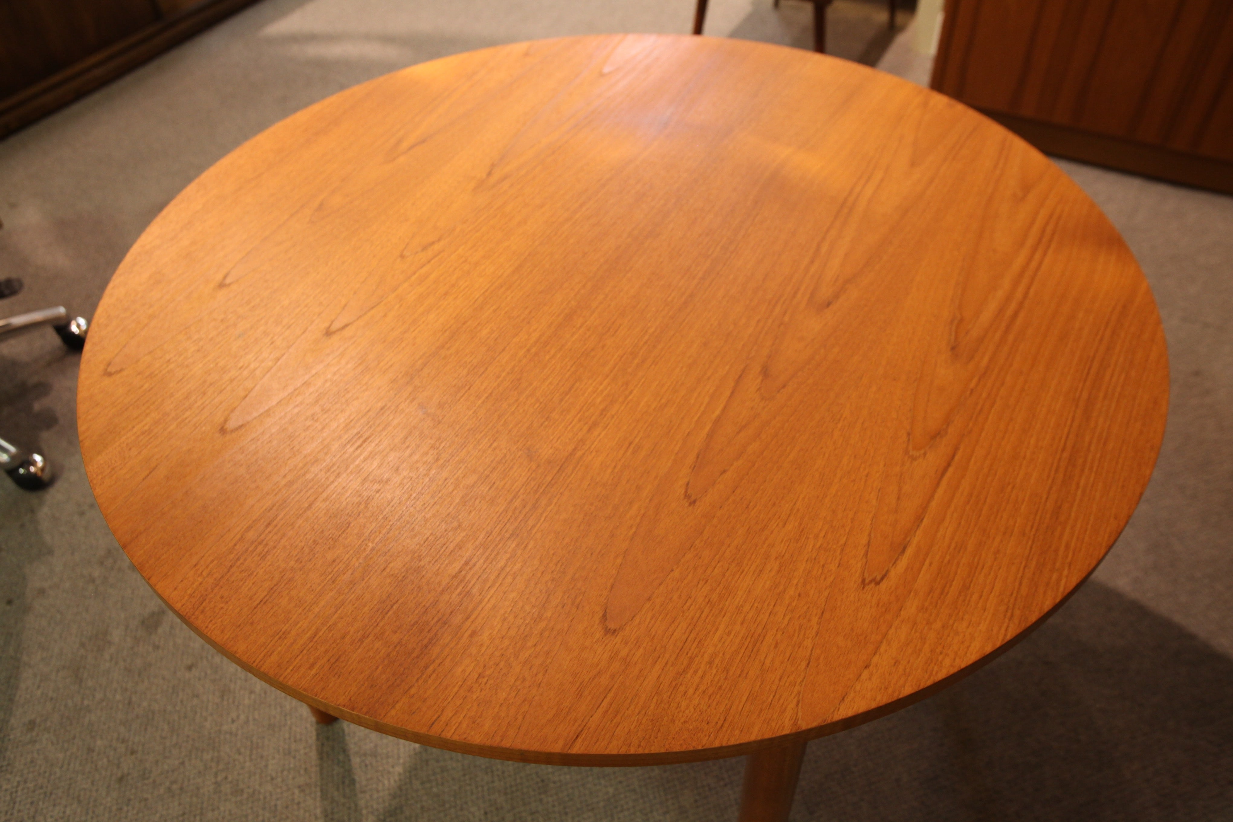 "Round Teak Dining table (41.75"" across x 28"" high)"