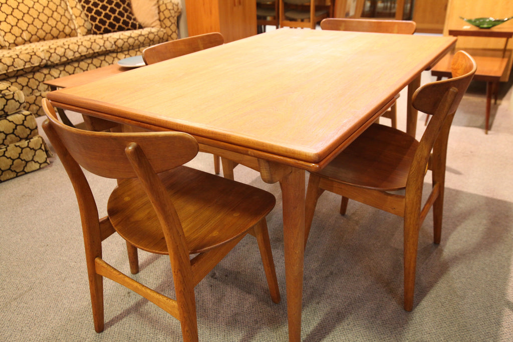 """Rare"" Hans Wegner Danish Teak Dining Table w/extensions (94.5""L x 35.5""W) or (55""L x 35.5""W)"