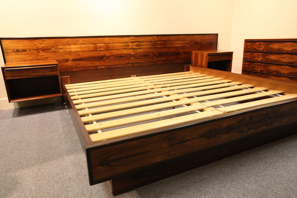 "Rare Vintage Westnofa King Size Rosewood Bed w/ Night Stands (123""W Headboard)"