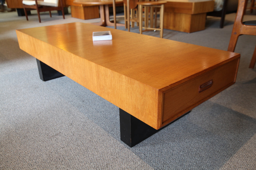 "RS Associates Teak Coffee Table w/ drawers at Each End (59""L x 22""W x 15""H)"