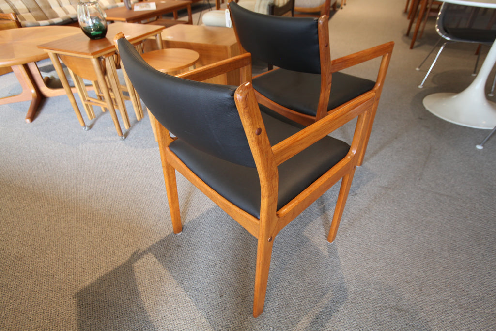 Vintage Teak Arm Chair with new leather upholstery