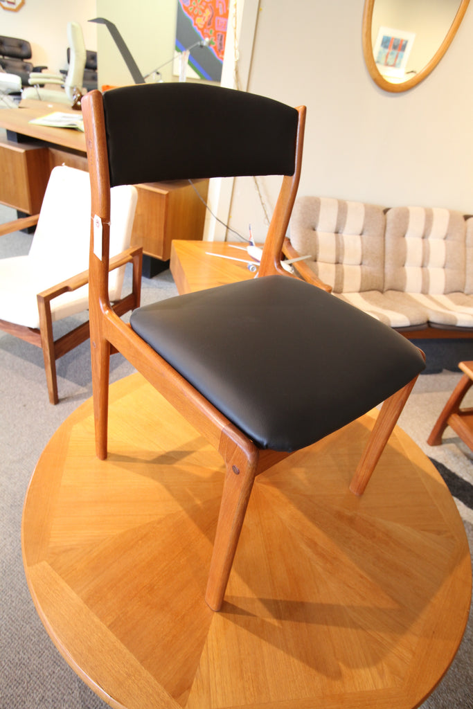 Vintage Teak Chair with new Leather Upholstery