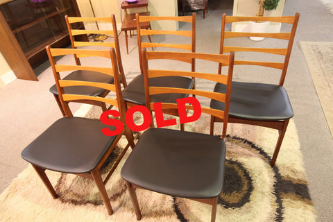 Set of 5 Vintage Mid Century Chairs (new upholstery)