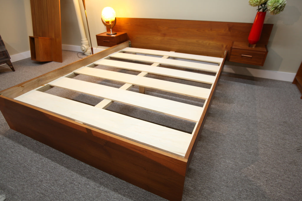 "Teak Queen Bed w/ attached night stands (96""W x 81.5L)"