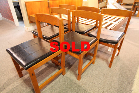 Set of 6 Vintage Teak MCM Chairs
