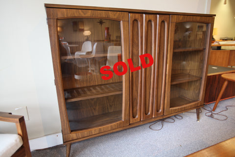 "Viscol Walnut Hutch w/Glass doors (56""W x 12""D x 43.75""H)"