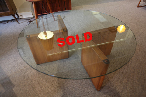 "Round Glass Coffee Table w/ Teak Base (42"" across x 16""H)"