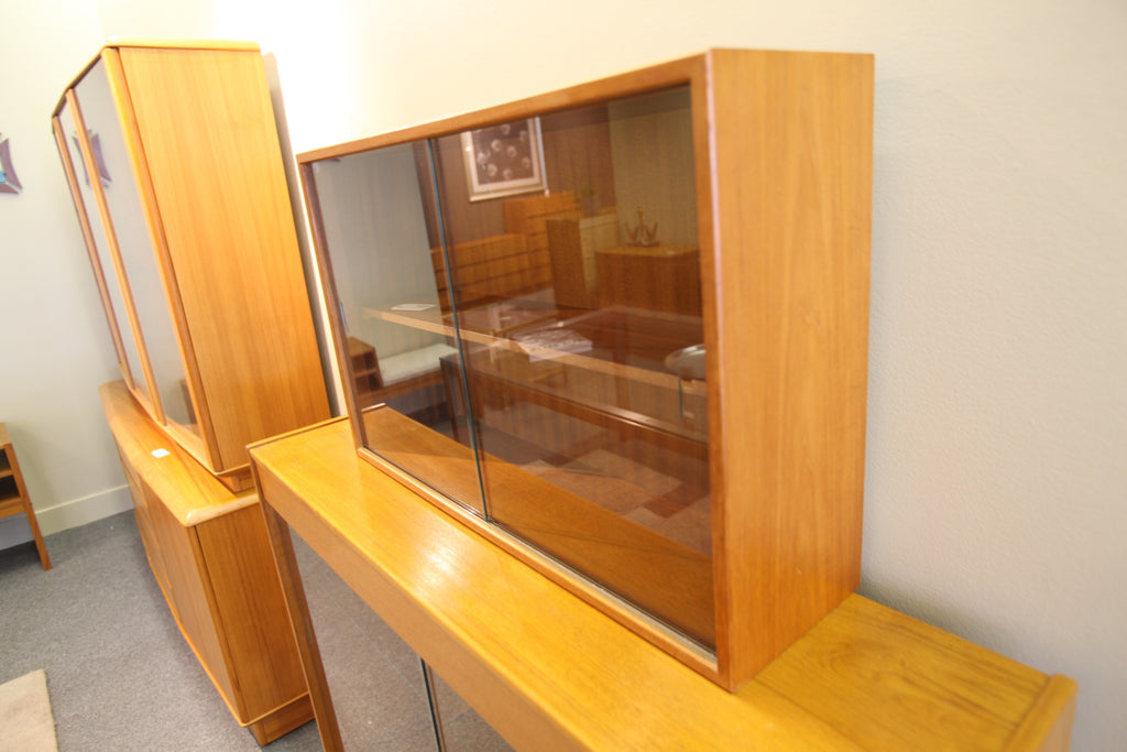 "Small Teak Cabinet with Sliding Glass doors (31.5""W x 19.75""H x 9""D)"