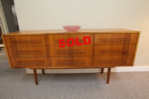 "Unique Mid Century 9 Drawer Teak Dresser (72.5""W x 19""D x 35.5""H)"