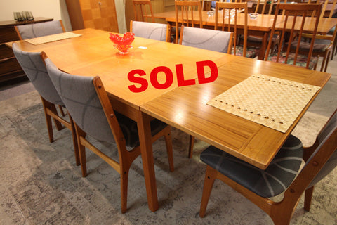 "Vintage Danish Teak Dining Table with Pullout Extensions (92.5"" x 33.5"") or (53"" x 33.5"")"