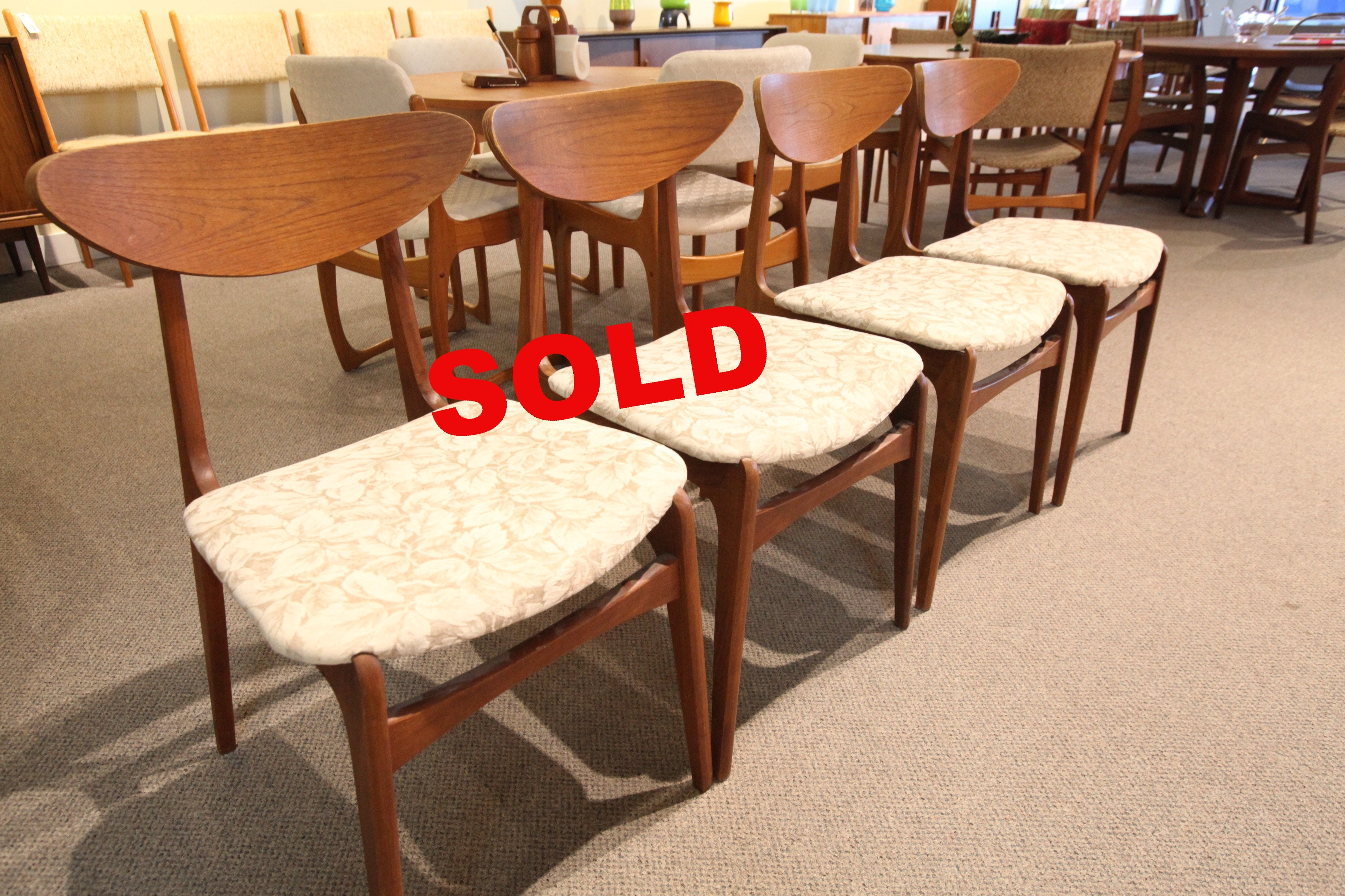 Set of 4 Vintage Mid Century Walnut Chairs