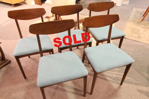 Set of 5 Vintage MCM Walnut Chairs
