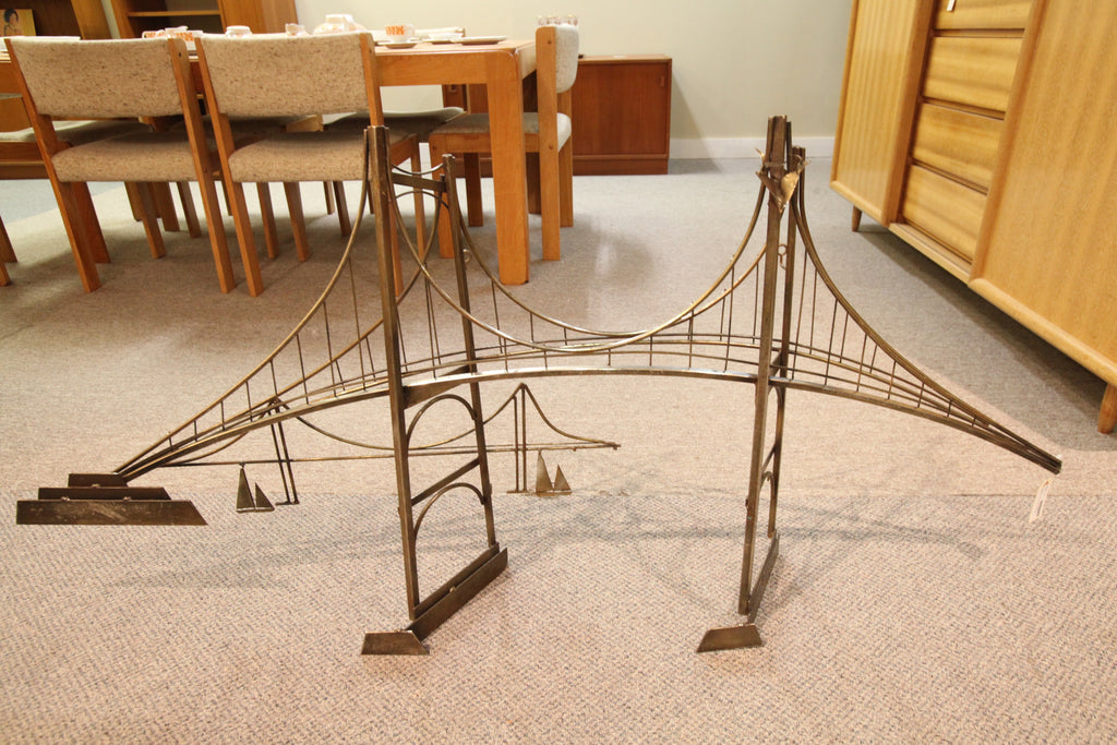 "Mid Century Brass Wall Art (Bridge) (57.5""L x 27""H)"
