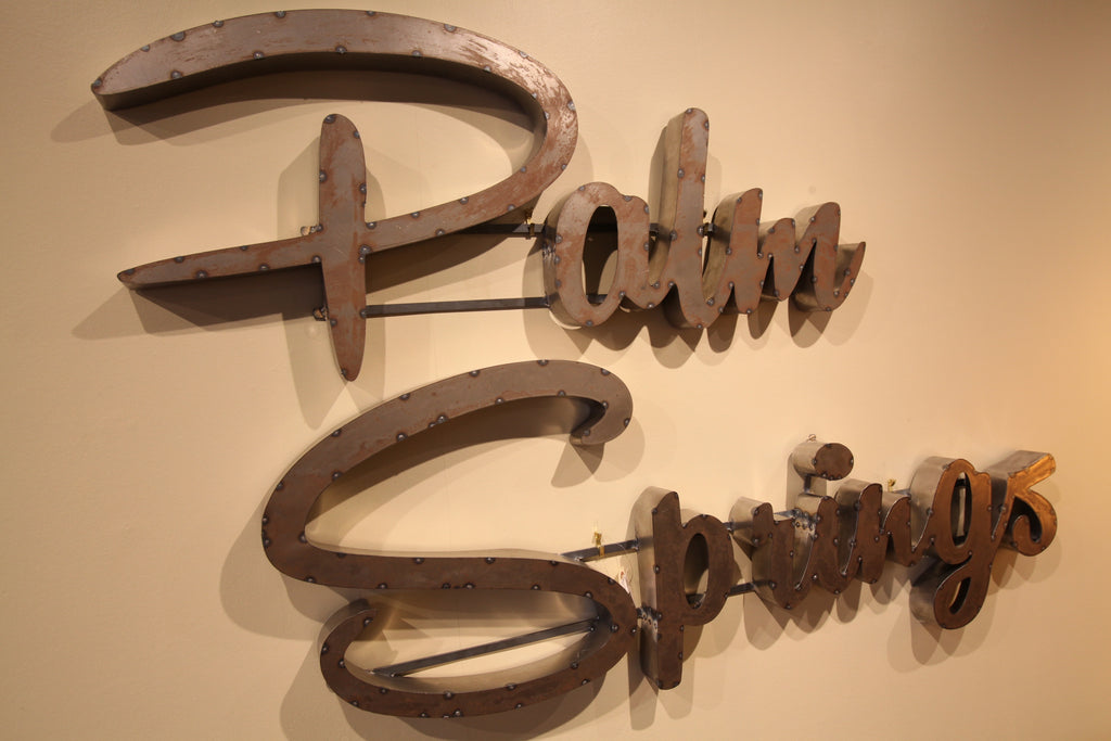 "Hand Made Metal Script Letters ""Palm Springs"" (Approx 60"" x 36"")"
