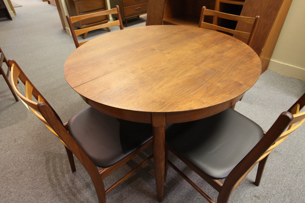 "Mid Century Round Walnut Dining Table w/2 Leafs (66""x42"") or (42"" Round)"