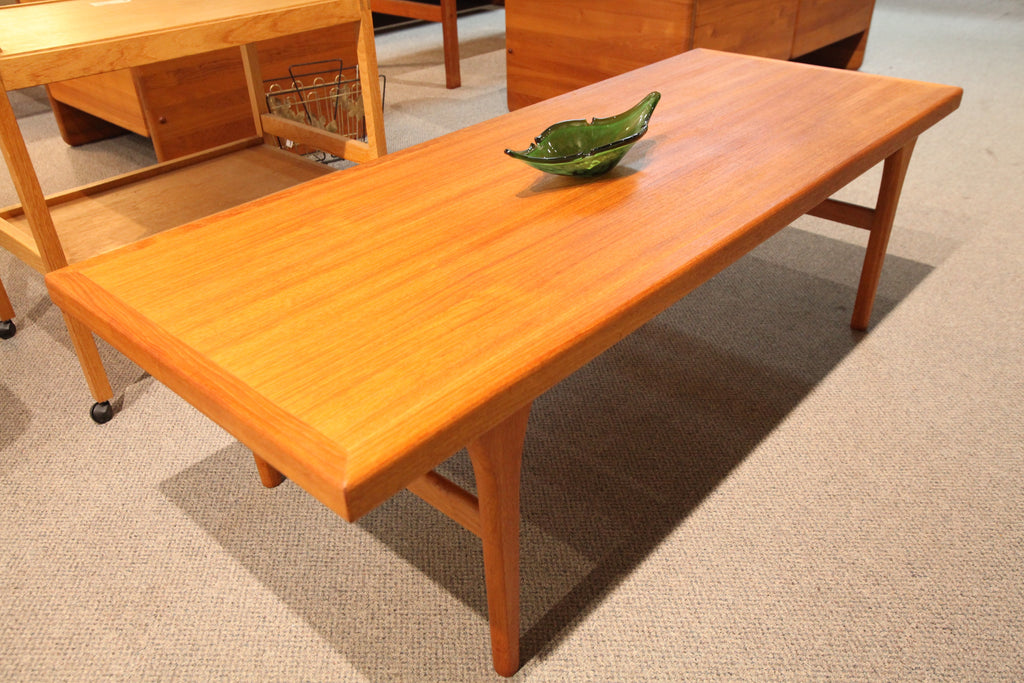 "Mid Century Danish Teak Coffee Table (58.25"" x 23"" x 17.5""H)"