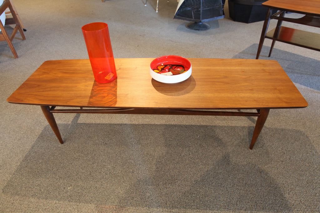 "Mid Century Modern Walnut Surfboard Style Coffee Table (59.5""L x 19.5""W x 15""H))"