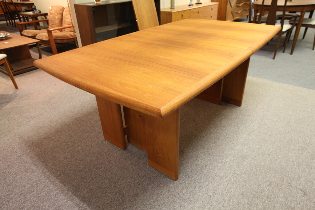 "Fabulous Large Teak Dining Table w/ 2 Leafs and unique Base (100""x41"" x 29""H) or (71.5"" x 41"")"