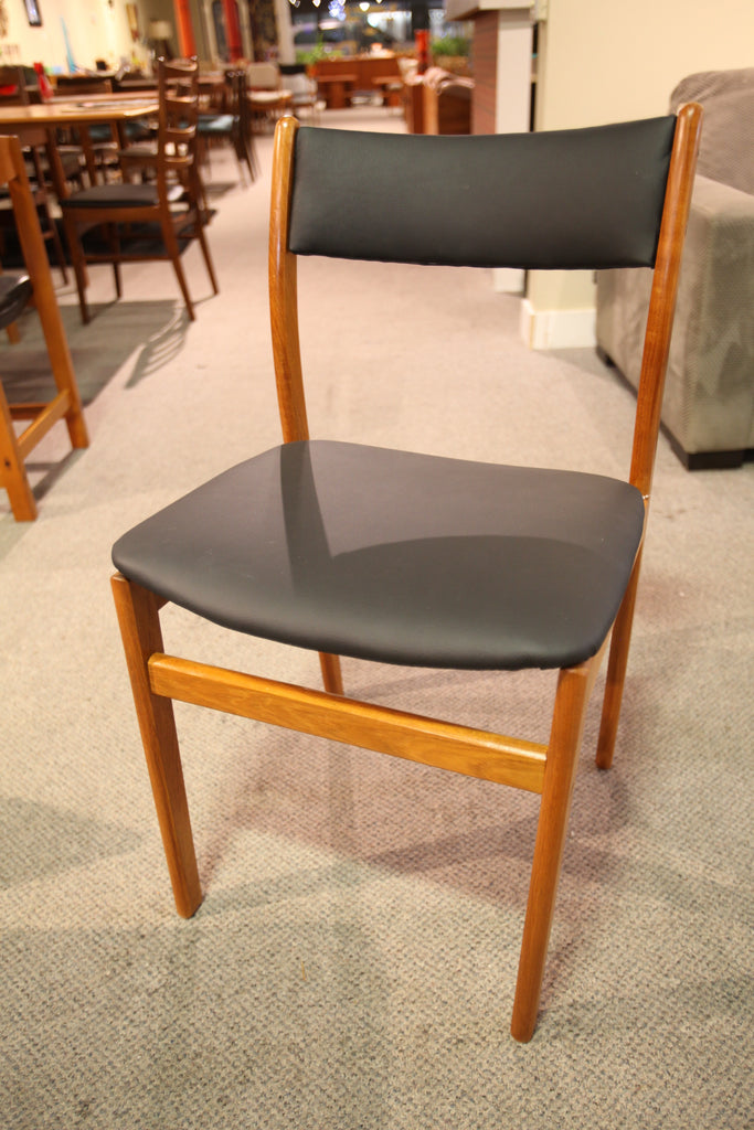Single Mid Century Teak Chair (Newly recovered in Black Leather)