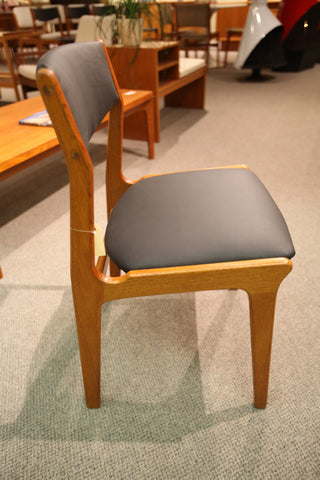 Single MCM Teak Chair (Newly recovered in Black Leather)