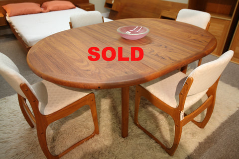 "Danish Teak Dining Table w/ Butterfly Leaf (68"" x 48"") or (48"" Round)"