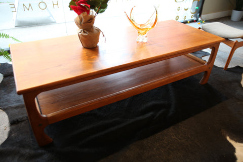 "Mid Century Danish Teak Coffee Table (60""L x 25""W x 17""H)"