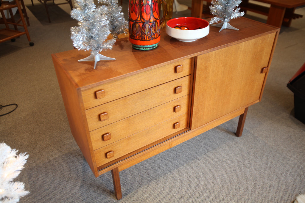 "Small Vintage Teak Sideboard w/ Drawers (48""W x 15.5""D x 32""H)"