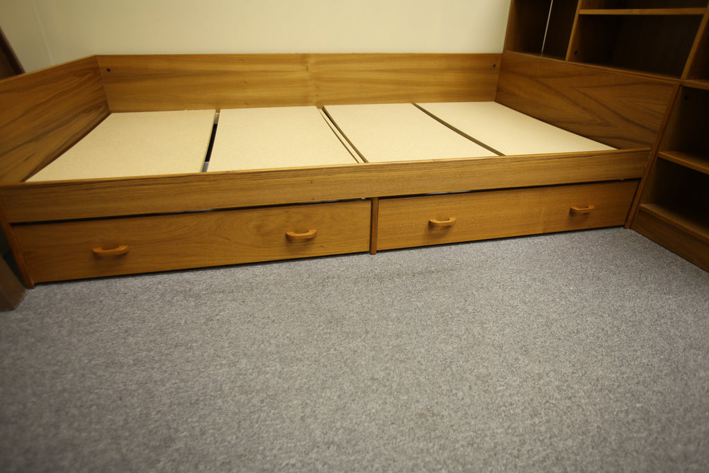 "Mid Century Teak Twin Daybed W/ 2 Lower Drawers (85""L x 60.5""W)"