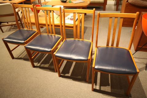 Set of 4 Vintage Mid Century Teak Dining Chairs (Blue Leather)