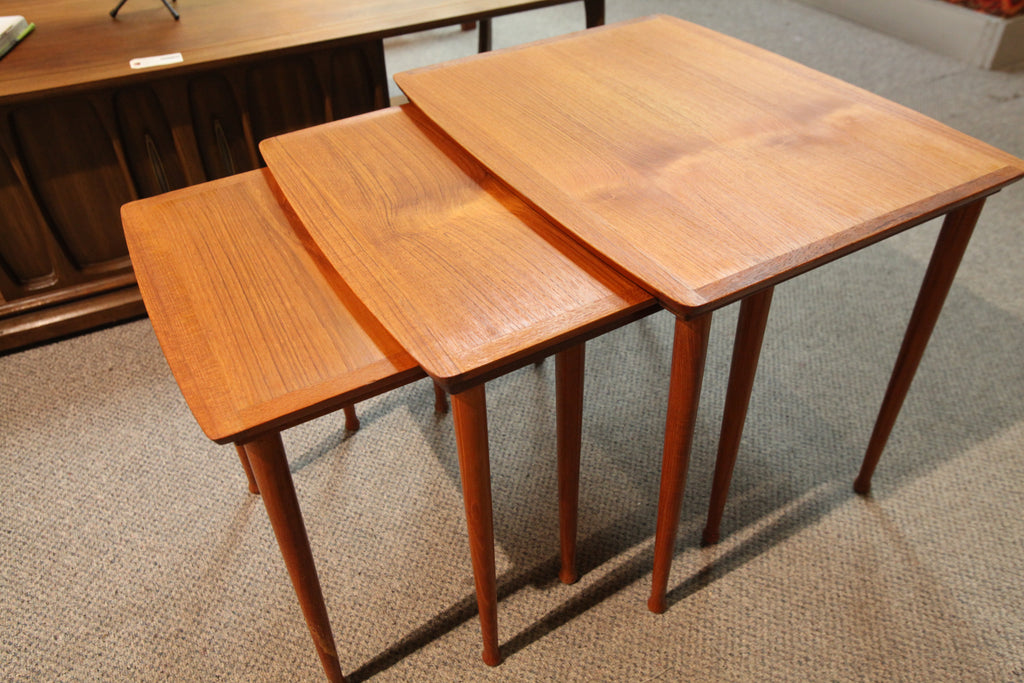 "Set of 3 Danish Teak Nesting Tables (Mobelintarsia) (17"" x 22"" x 18""H)"