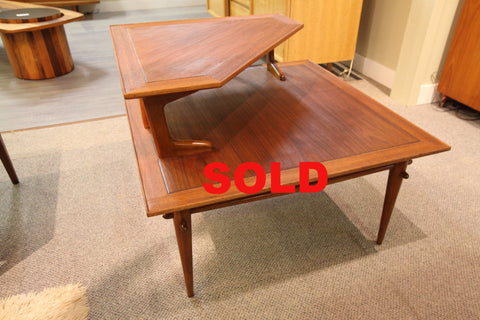 "Vintage Mid Century Lane Walnut Coffee / Side Table (32"" x 32"" x 24.5""H)"