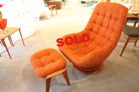 Orange R. Huber Mid Century Chair and Ottoman