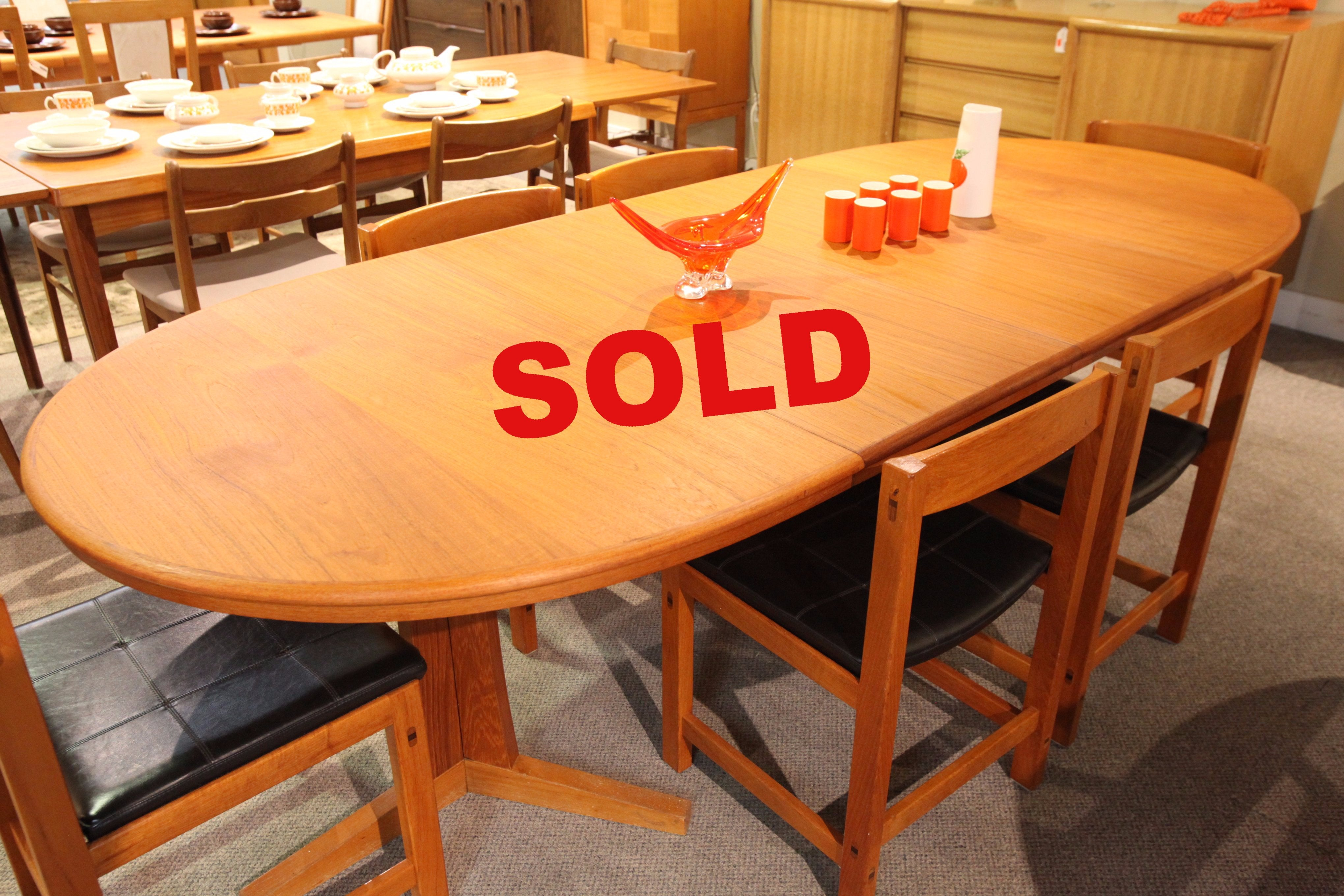 "Mid Century Teak Dining Table w/2 Leafs  (97.5"" x 41.5"") or (59"" x 41.5"")"