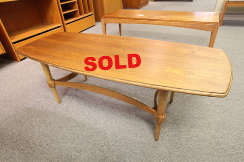 "Mid Century Walnut Coffee Table (48"" x 19.75"" x 16""H)"