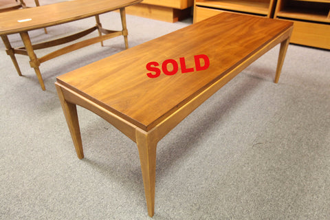 "Mid Century Walnut Coffee Table (17"" x 47"" x 15.5""H)"