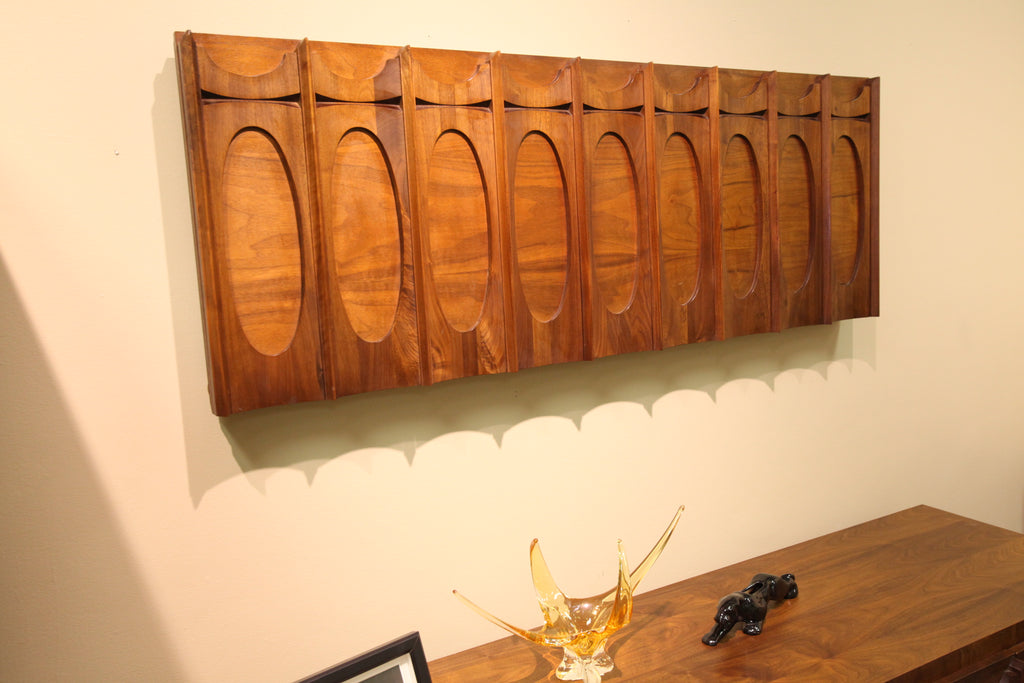 "Brutalist Walnut Wood Wall Hanging (60"" x 22"")"