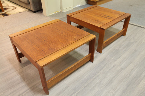 "Set of 2 Teak Side Tables (30"" x 30"" x 16.5""H)"