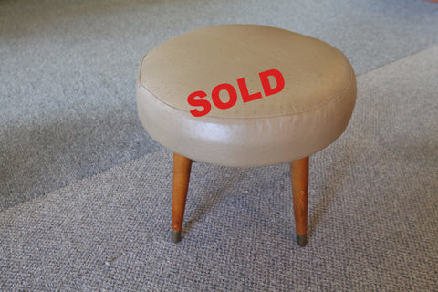 Small Leather / Teak Footstool