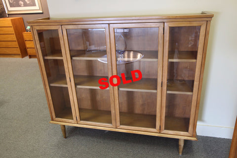 "Vintage Walnut / Glass 2 Door Cabinet (56.75W x 11.5""D x 49""H)"