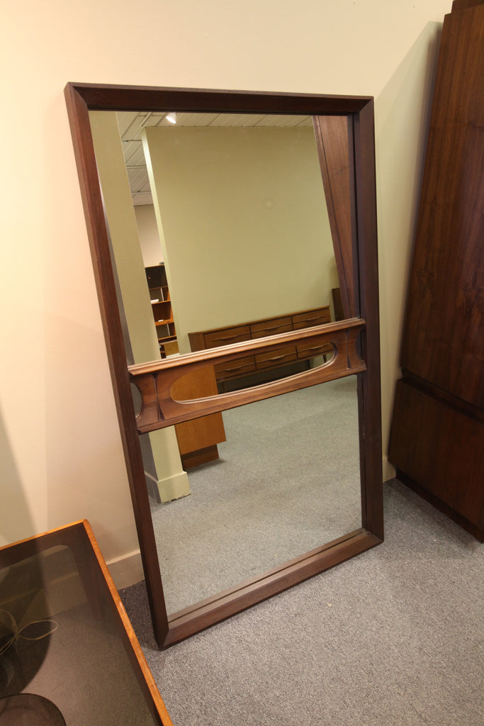 Large Brutalist Design Walnut Mirror (62.5 x 36.5)