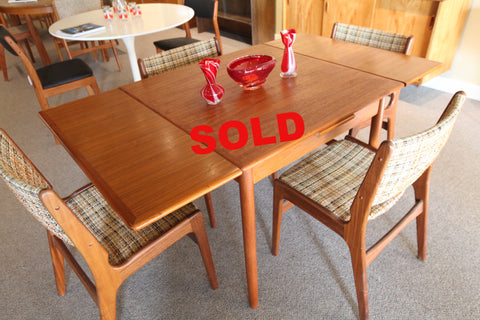 "Danish Teak Pullout Extension Table (60"" x 34"") or (34"" x 34"")"