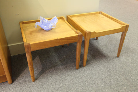 "Set of 2 Teak Side Tables (17.5 x 17.7 x 15""H)"