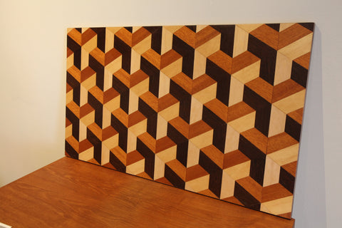 "Vintage Wooden Geometric Art (31"" x 18"")"
