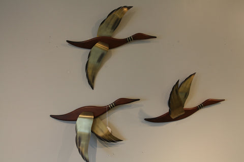 Vintage Wood / Brass Birds (Set of 3)
