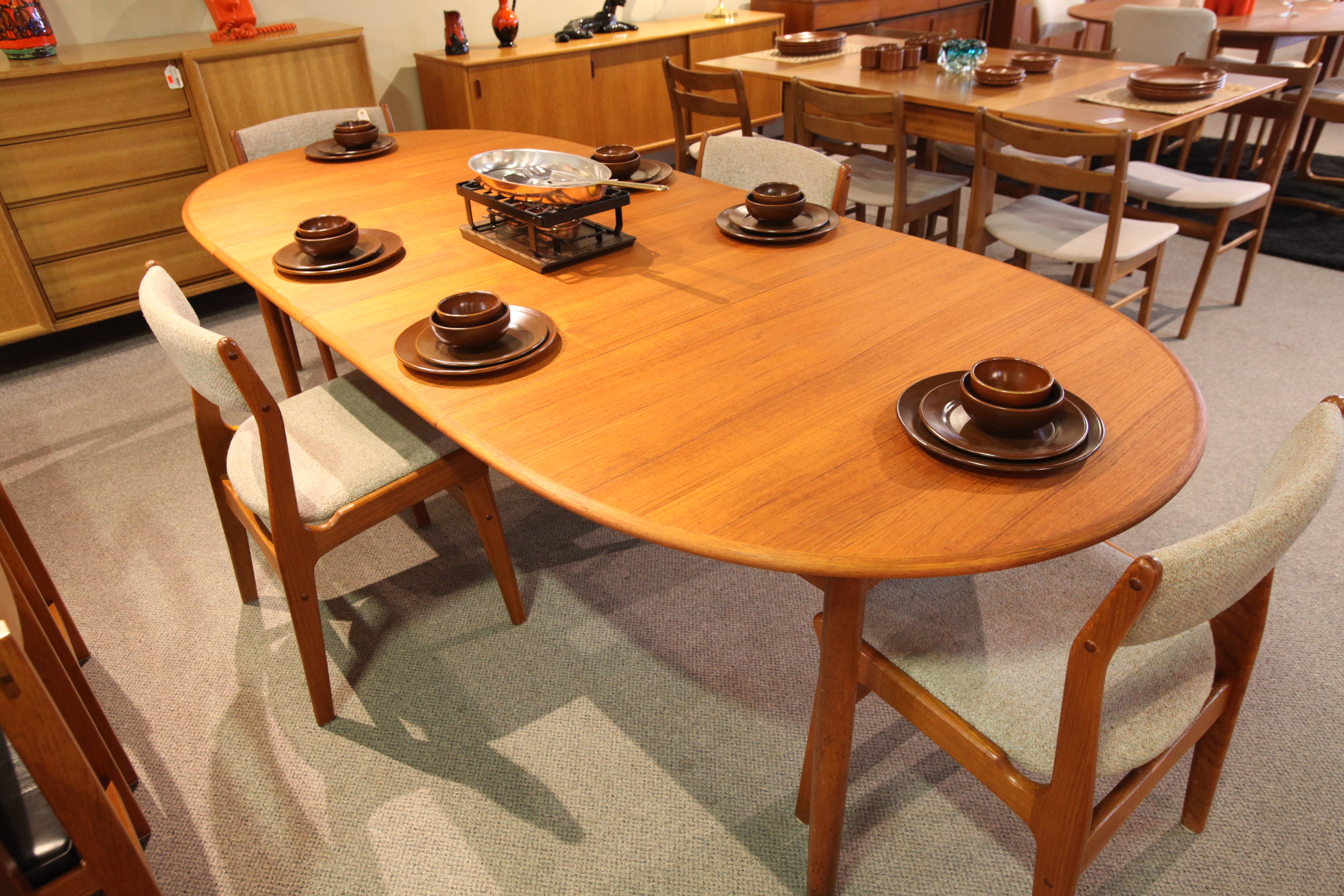 "Vintage Mid Century Danish Teak Dining Table w/2 Leafs (98""x41.5"") (59""x41.5"")"