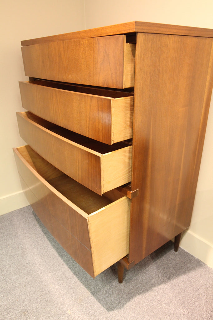 "Vintage Basset Furniture 4 Drawer Walnut Tallboy (34.25""W x 17.75""D x 43""H)"